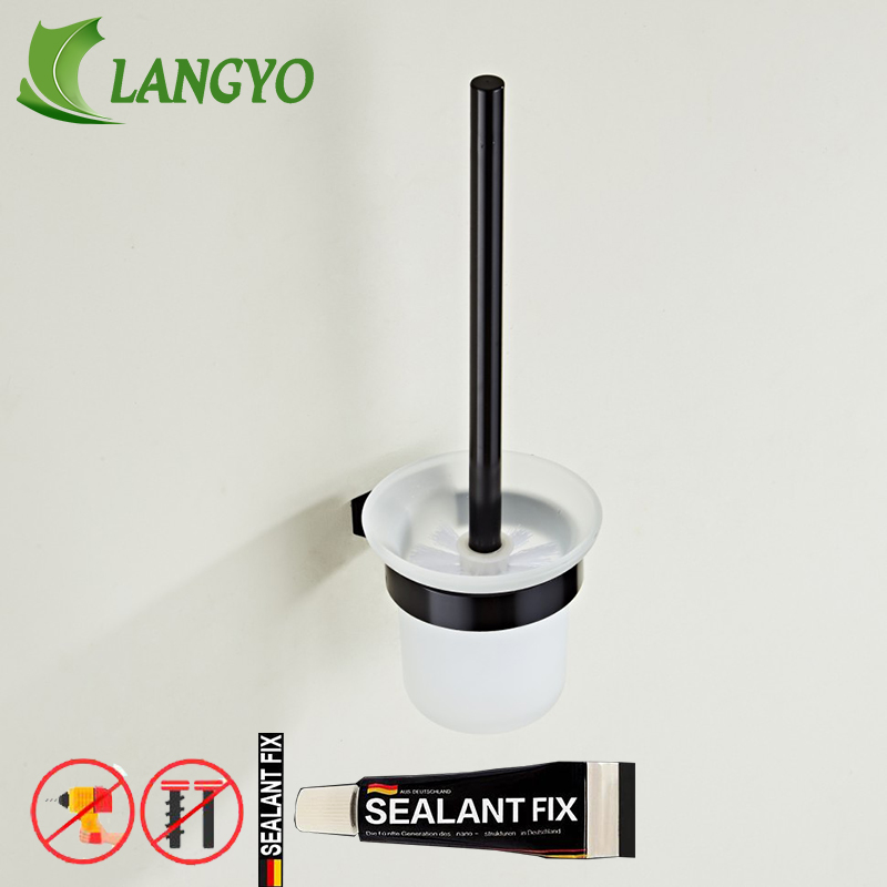 Free Shipping Nail Free Bathroom Accessories Wall Mounted Black Space Aluminum Bathroom Toilet Brush Holder Toilet Cleaning