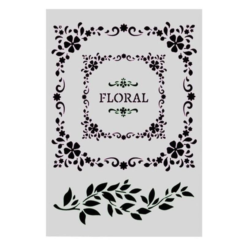 A4 Tamanho Ofício DIY Padrão Floral Álbum de fotos Scrapbooking Stamping Template Stencil Para Pintura de Parede Decor Embossing PaperCards