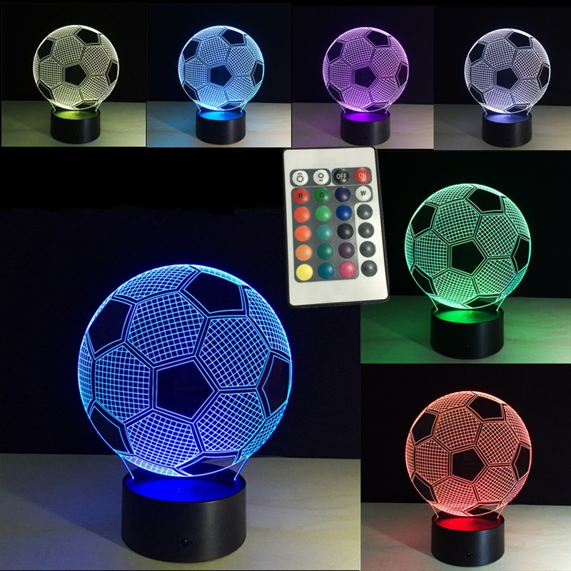3d Lighting Fixture Football LED Table Night Lamp Remote Control RGB 7 Colors Changing Indoor Night