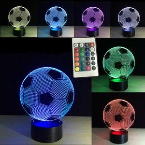 Image 1 - Oprawa oświetleniowa 3d piłka nożna LED lampka nocna pilot RGB 7 zmiana kolorów kryty lampka nocna lampa iluzoryczna