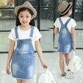 Crianças elegantes Roupas das Meninas Saias Crianças Meninas Denim Macacão Macacão de Jeans Macacão Jeans Macacão Jeans de Alta Qualidade