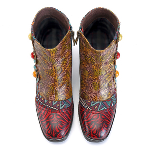Image 2 - Socofy Vintage Bohemian Printed Winter Boots Women Shoes Woman Genuine Leather Splicing Handmade Flower Women Ankle Boots Botas