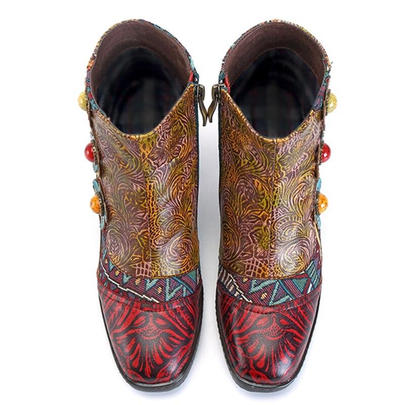 Genuino Mano A De Vintage Flor Socofy Mujer Impreso Las Mujeres Hecha Botas Amarillo Invierno Empalme Cuero Bohemio Zapatos zqO6U