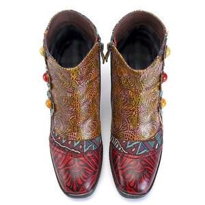 Image 2 - Socofy خمر البوهيمي مطبوعة الشتاء أحذية حريمي برقبة امرأة جلد طبيعي الربط زهرة يدوية الصنع النساء حذاء من الجلد بوتاس