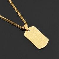MCSAYS Hip Hop Jewelry Scripture Cross Square Card Alloy Gold Color Pendant Link Copper Chain Necklace