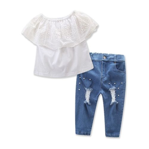 Fashion Toddler Girls Off Shoulder Lace Tops Ruffle Shirt Ripped Jeans Pant Summer Clothing Outfits Set 2pcs