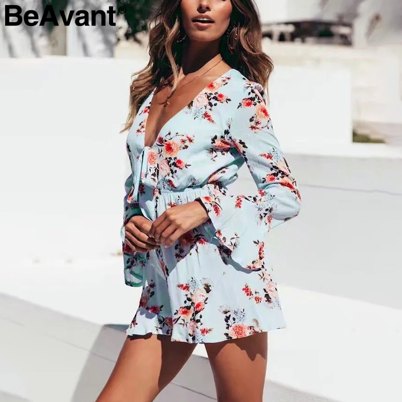 BeAvant Floral print long sleeve   jumpsuit   women romper V-neck elegant ruffle summer playsuit 2019 Holiday beach overalls short