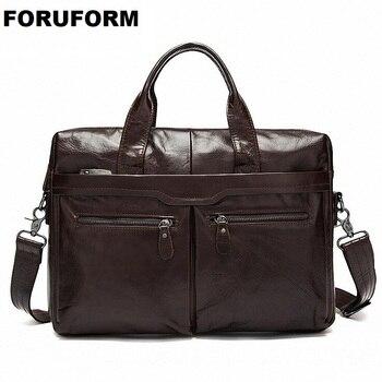 Vintage Designer Men's Real Leather Briefcase Bag For Male Crossbody Bags 14 Inch Laptop Business Bag Men's Shoulder Bag LI-2151