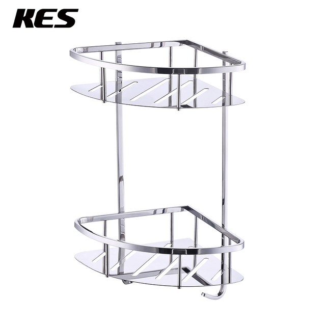 KES A2220B Bathroom Corner 2 Tier Triangular Tub and Shower Caddy ...