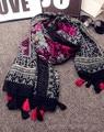 Мексика стиль винтаж этническая длинные роза красная черный печати шарф для женщин осень зима Литературный стиль печатных глушитель мыс платок