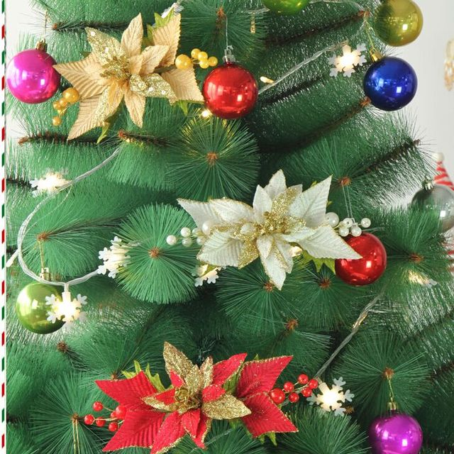 double gold red christmas flower cuttings for christmas tree decoration 2017 new 24x12cm