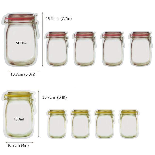 LMETJMA 12 Pieces Mason Jar Zipper Bags Reusable Snack Saver Bag Leakproof Food Sandwich Storage Bags for Travel Kids KC0216 3