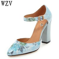 Plus Size 45 Women Pumps High Heels Woman Shoes 2018 Brand Spring Pointed Toe Ankle Strap Pumps Flower Thick Heel Wedding Shoes