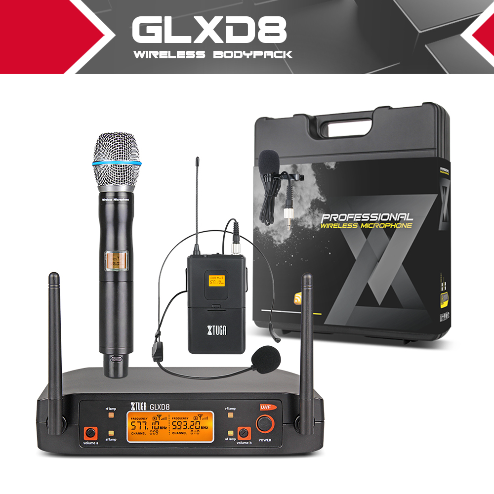 XTUGA GLXD8 Portable UHF Microphone System with carry case 1Boydpack1Handheld MIC BOX Cordless Wireless for Stage