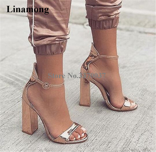 51d47ddb2802c Women Charming Style Open Toe Rose Gold Patent Leather Chunky Heel Sandals  Ankle Strap Thick High Heel Sandals Evening Club Shoe
