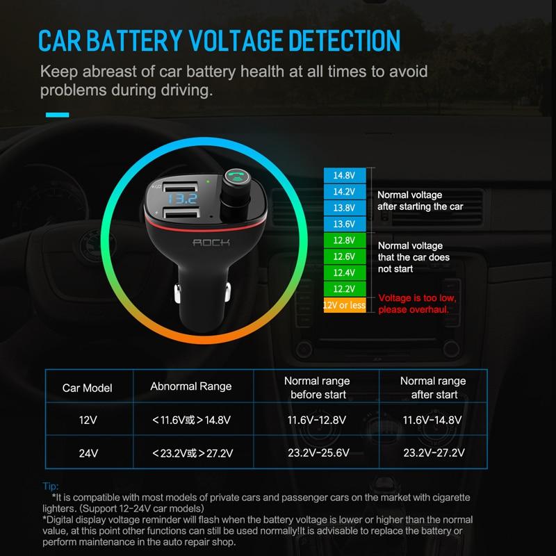 ROCK B300 Bluetooth FM Transmitter 4.2 USB Car Charger Digital ...