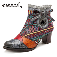 Socofy Bohemian Bowknot Lace Winter Boots Women Shoes Woman Ankle Boots Vintage Printed Genuine Leather Splicing Zipper Booties