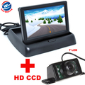 7LED Night Vision CCD Câmera de Visão Traseira Do Carro Com 4.3 Cor polegadas LCD Dobrável Monitor de Vídeo Da Câmera Do Carro de Estacionamento Auto assistência
