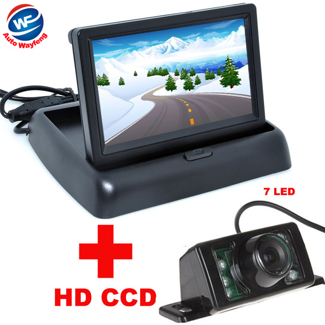 7LED Night Vision Car CCD Rear View Camera With 4.3 inch Color LCD Car Video Foldable Monitor Camera Auto Parking Assistance