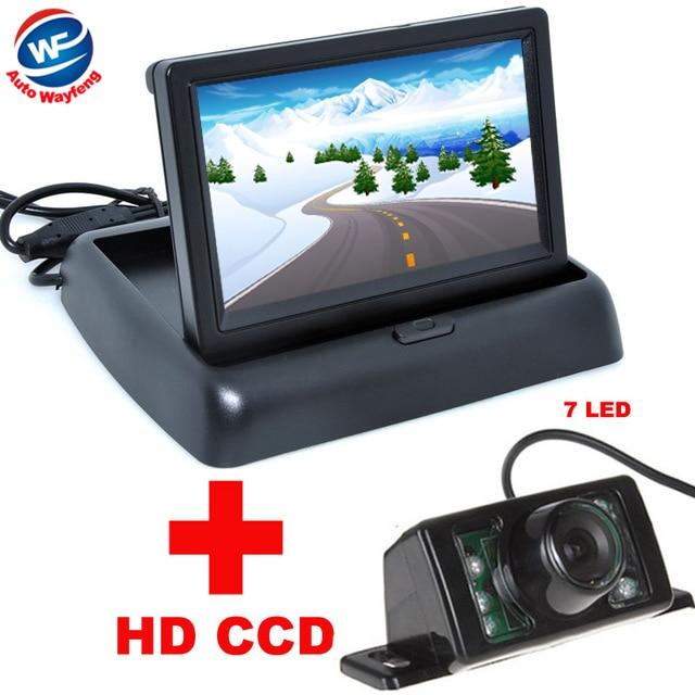 7LED Night Vision Voiture CCD Vue Arrière Caméra Avec 4.3 pouces Couleur LCD Vidéo de Voiture Pliable Moniteur Caméra Auto Parking Assistance