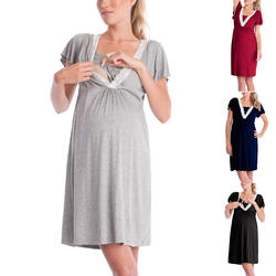 Летние средства ухода за кожей для будущих мам платье короткий рукав V образным вырезом кружево лоскутное беременн