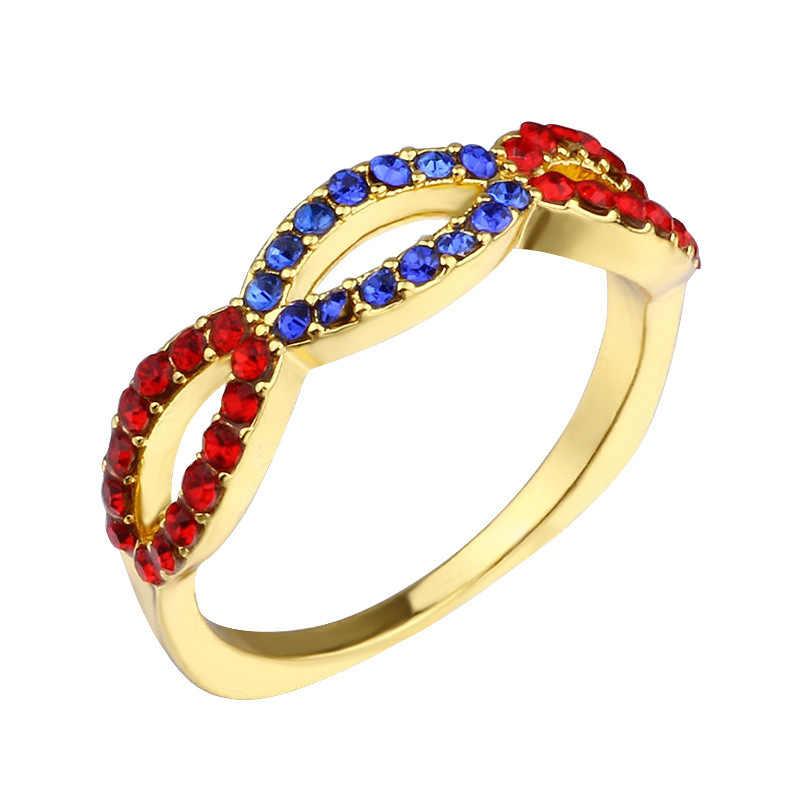 Nuevo conjunto de anillos femeninos de marca de lujo de Tisonliz 2019, anillos de flores de piedra CZ plateado de Color rojo y dorado, joyería de regalo para mujer, envío directo