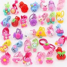 10 Pcs Candy Color Baby Headband Cute Cartoon Hiar Ropes Girls Hair Accessories Children Elastic Hair Bands