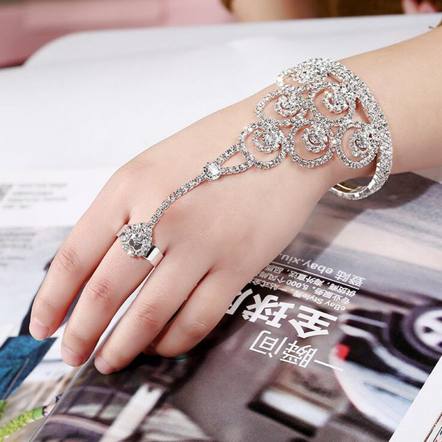 New Round Circle Hand Harness Chain Slave Bracelets Full Rhinestone Wedding Bridal Wrap Bracelet Rings Cuff