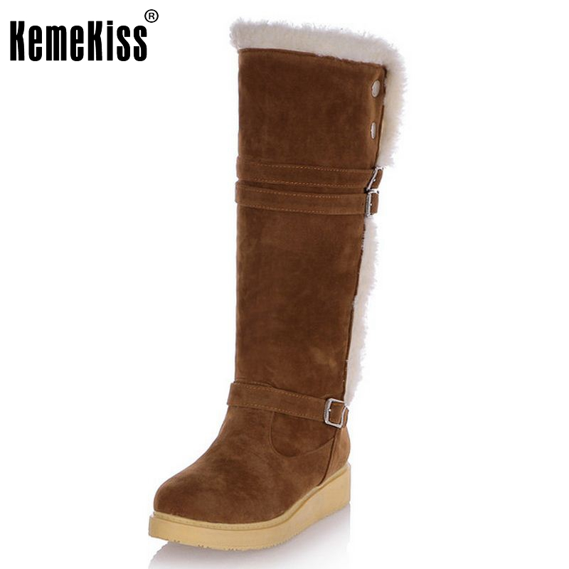 Fashion Women Winter Snow Boots Warm Mid-Calf Boots Winter Suede Leather Shoes Flat Shoes Sapato Feminino Size 31-43 double buckle cross straps mid calf boots