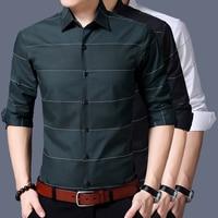 Long Sleeve Shirt Men 2018 Autumn New Fashion Designer High Quality Solid Shirt Non Iron Slim Fit Shirts Formal 3XL
