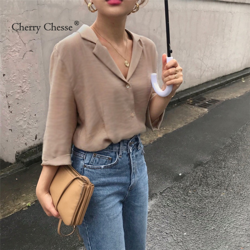 Cherry Chesse Vintage Women Blouse Mid Sleeve Solid V Neck Button Tops Summer Autumn Slim Office Lady