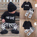 Newborn Infant Toddler Baby Boy Clothes Set Long Sleeve T-shirt+Pants 2PCS Outfits