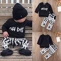 Newborn Infant Toddler Bebê Menino Roupas Set de Manga Comprida T-shirt + Calças 2 PCS Roupas