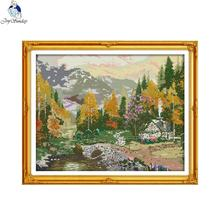 Joy Sunday Autumnal Scenery 5 Counted Cross Stitch 11CT 14CT landscape Kits for Embroidery Home Decor Needlework