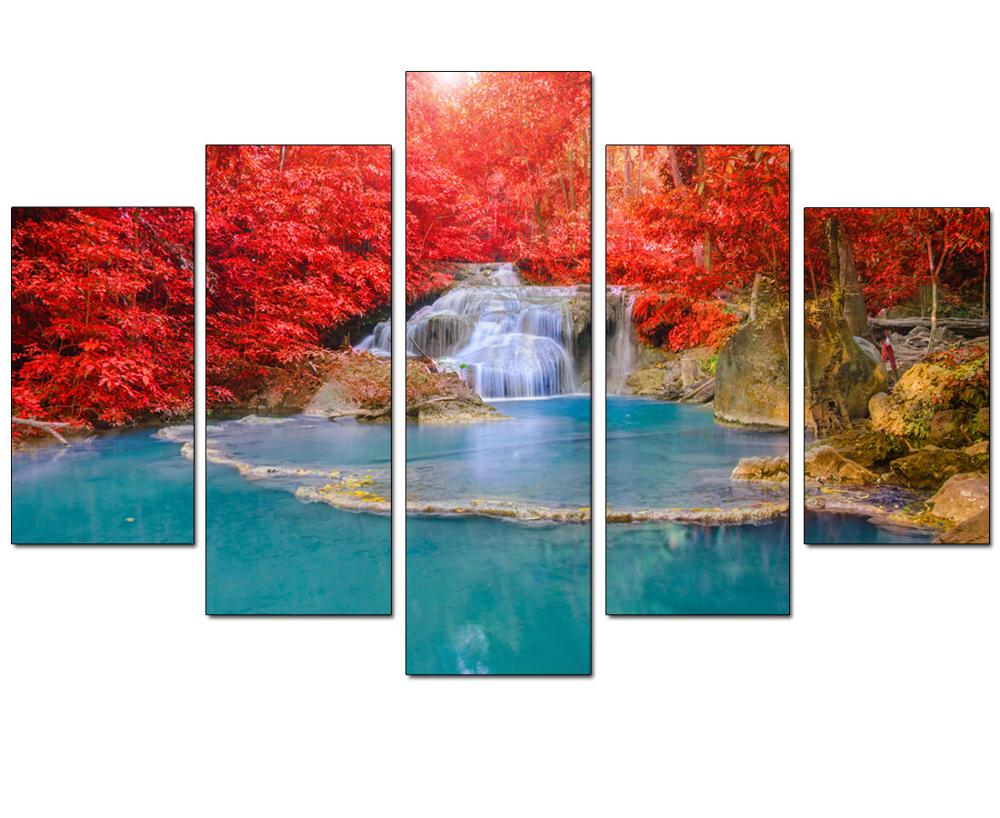 5 Panel Wall Art Canvas Landscape Lukisan Red Maple Leaf Forest Wall - Hiasan rumah - Foto 5