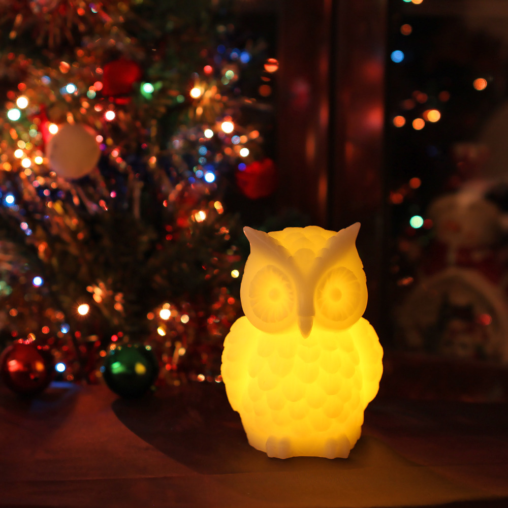 GiveU Owl Candle Real Wax Led Flameless Candle with Timer for Halloween and Thanksgiving,White