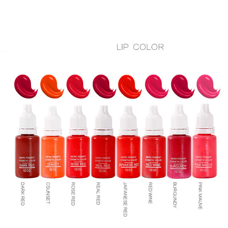 23 בקבוק 1/2 oz קעקוע דיו פיגמנט לאיפור קבוע קל ללבוש גבות אייליינר שפתיים גוף אמנויות צבעי קעקוע אמנות יופי כדי