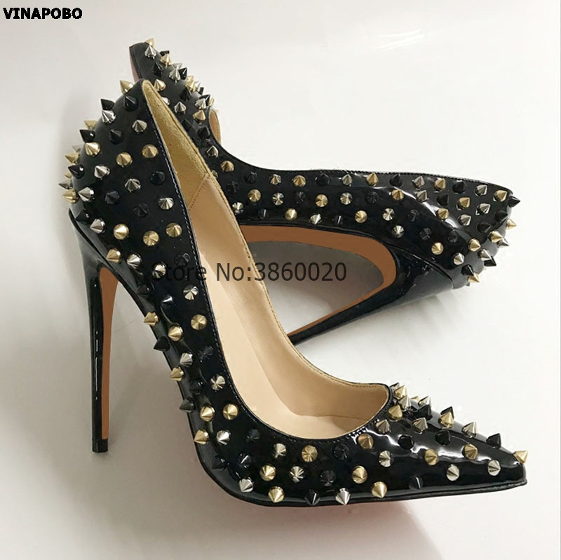 Sexy Pointed-toe gold Rivets 12CM Stiletto high Heels Pump Black Patent  Leather Women Wedding ceb23e2d317d