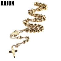 AOJUN Stainless Steel Bead Chain Jesus Christ Cross Pendant Rosary Necklace For Mens Womens Unisex Jewelry