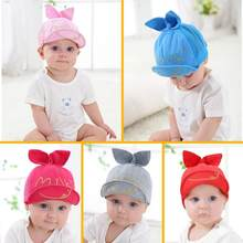 Child Baby Boys Girls Infant Cotton Baseball Cap with Cute Rabbit Ear Toddler Kids Sun Hat kids winter hats(China)
