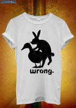 2017 New Fas hionsCool Tee Shirts  Rabbit Duck Wrong Sex Slogan Crew Neck Men Short Sleeve Office