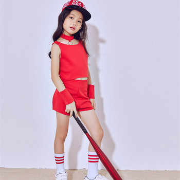 New Korean Children's Jazz Dance Girls Costumes Red Three-piece Hip Hop Girls Hip-hop Modern Dance Stage Costume new girls jazz dance performance clothing two piece hip hop hip hop costume children s practice clothes costumes