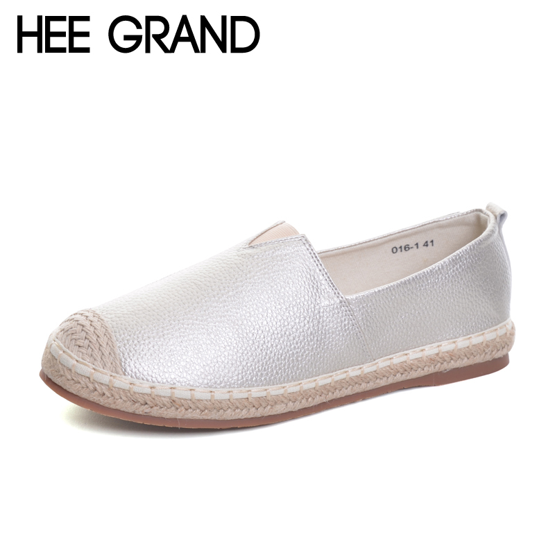 HEE GRAND 2017 New Loafers Weave Straw Ballet Flats Casual Fisherman Shoes Woman Slip On Comfort Solid Women Shoes XWD5939 hee grand hemp loafers 2018 embroider fisherman shoes woman straw slip on casual flats platform women shoes size 35 41 xwd6317