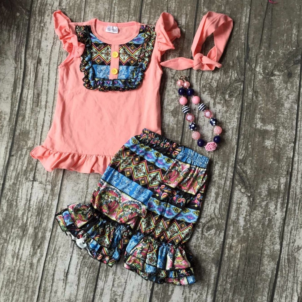summer girls boutique clothes coral floral Aztec shorts cotton ruffles outfits  with matching accessories necklace headband sets 2pcs ruffles newborn baby clothes 2017 summer princess girls floral dress tops baby bloomers shorts bottom outfits sunsuit 0 24m