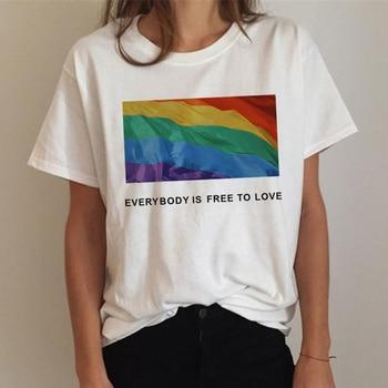 Lgbt T Shirt Women Gay Pride Shirt Lesbian Rainbow T-shirt Harajuku Ullzang Funny Tshirt 90s Graphic Love Is Love Top Tee Female 4