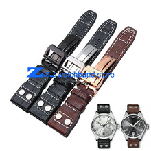 High quality  Genuine leather watchband 22mm Brown Black Wrist watch band strap wristwatches stitched belt Folding clasp men