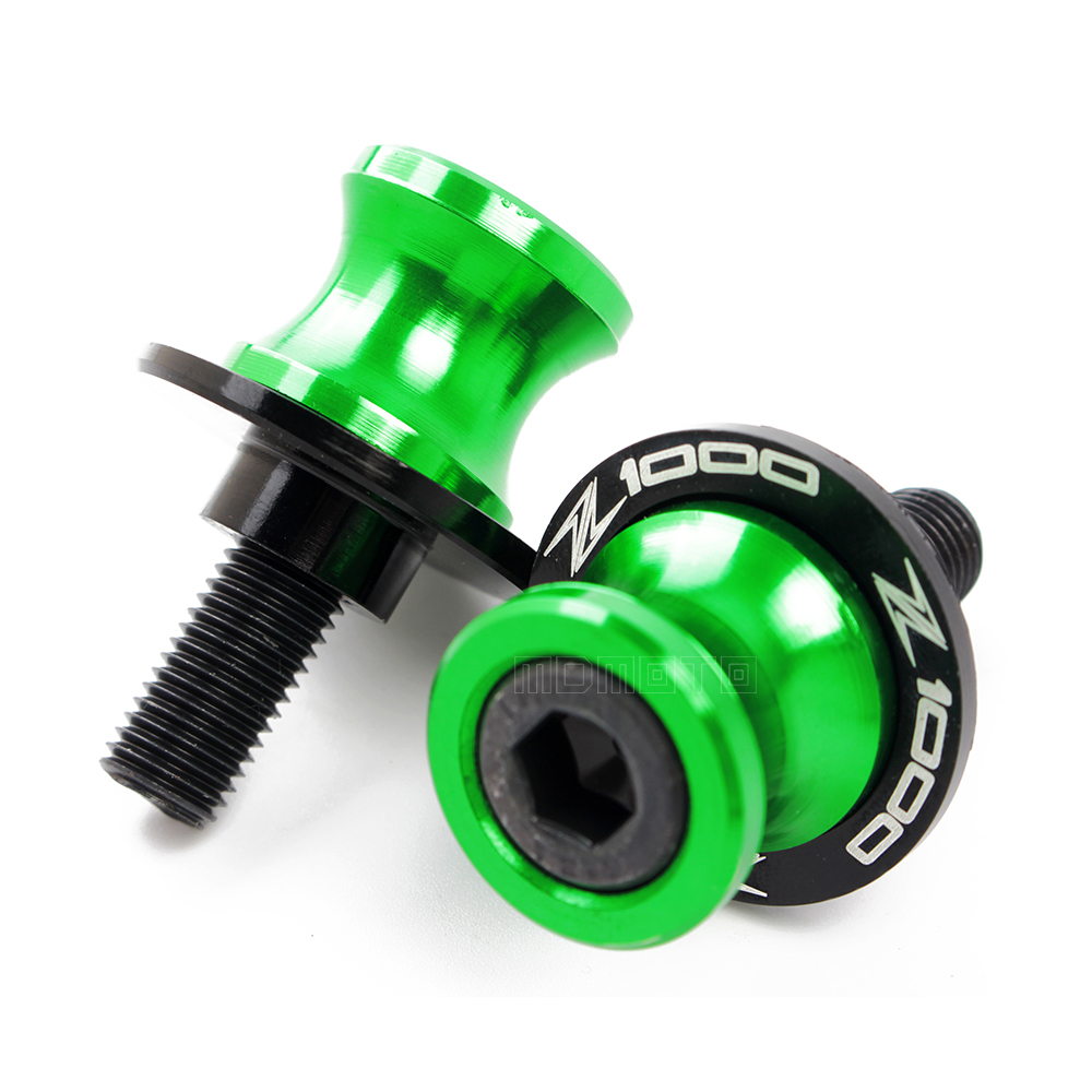 a pair with logo Z1000 CNC Motorcycle Swingarm Slider Spools stand screws For Kawasaki  Z1000 2015 2016 2017 protector 8mm bolts