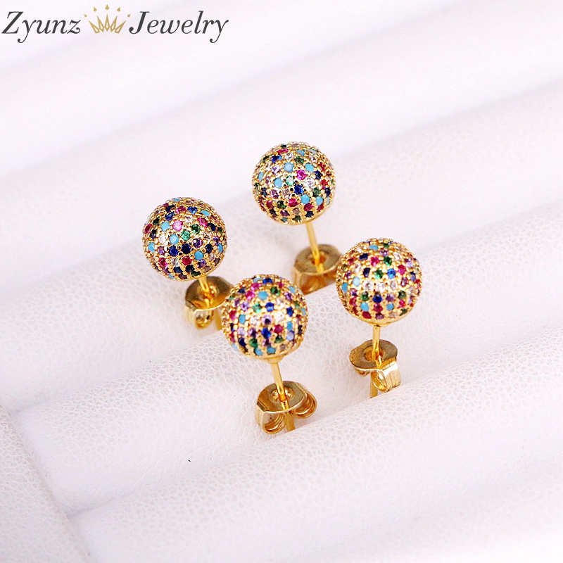 Image 4 - 5 Pairs 8mm/10mm Golden Color Copper Multicolor Cubic Zirconia  Round Disco CZ Ball Stud Earrings Womens Party Fashion JewelryStud  Earrings