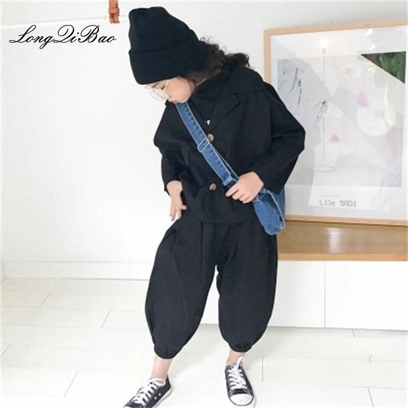 Baby girl suit 2018 autumn new big children's children's fashionable foreign suit halon wide leg pants two sets of tide fashionable black wide leg capri pants for women