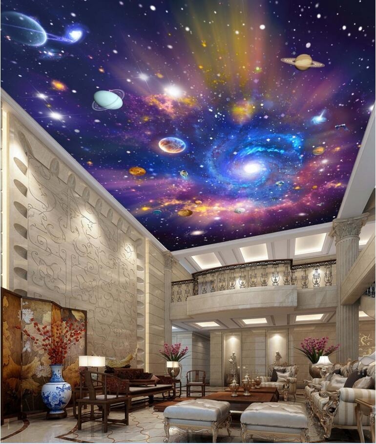 Custom 3d ceiling murals wallpaper home decor painting starry sky universe galaxy 3d wall murals wallpaper for living room fashion lady s zinc alloy band quartz analog rhinestone waterproof wrist watch silver 1 x 377